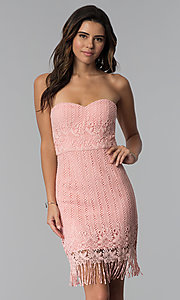 Image of strapless short pink lace fringed wedding-guest dress. Style: MT-9115 Front Image