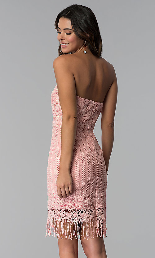 Image of strapless short pink lace fringed wedding-guest dress. Style: MT-9115 Back Image