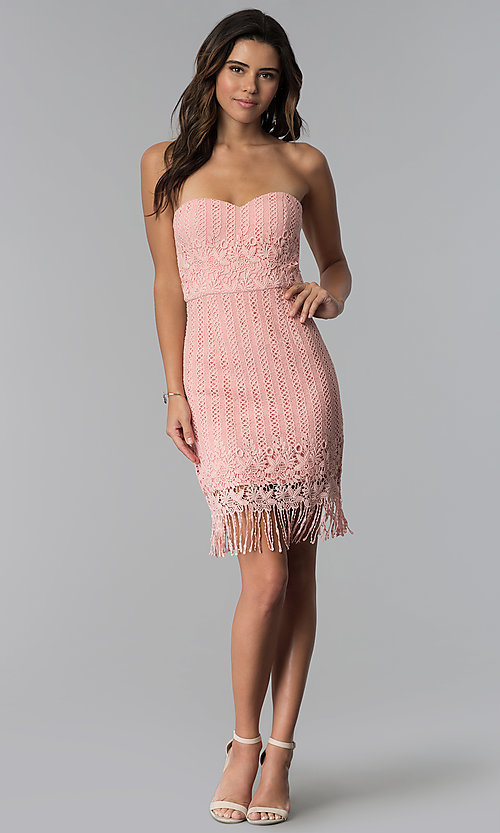 Image of strapless short pink lace fringed wedding-guest dress. Style: MT-9115 Detail Image 2