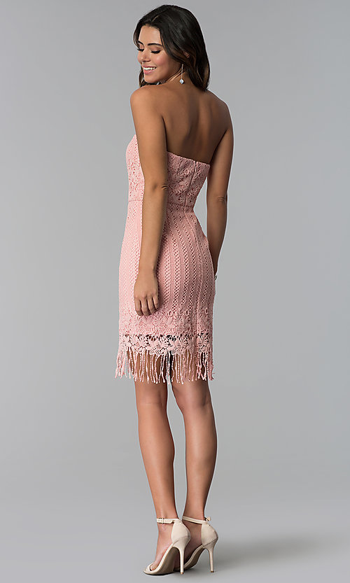 Image of strapless short pink lace fringed wedding-guest dress. Style: MT-9115 Detail Image 3