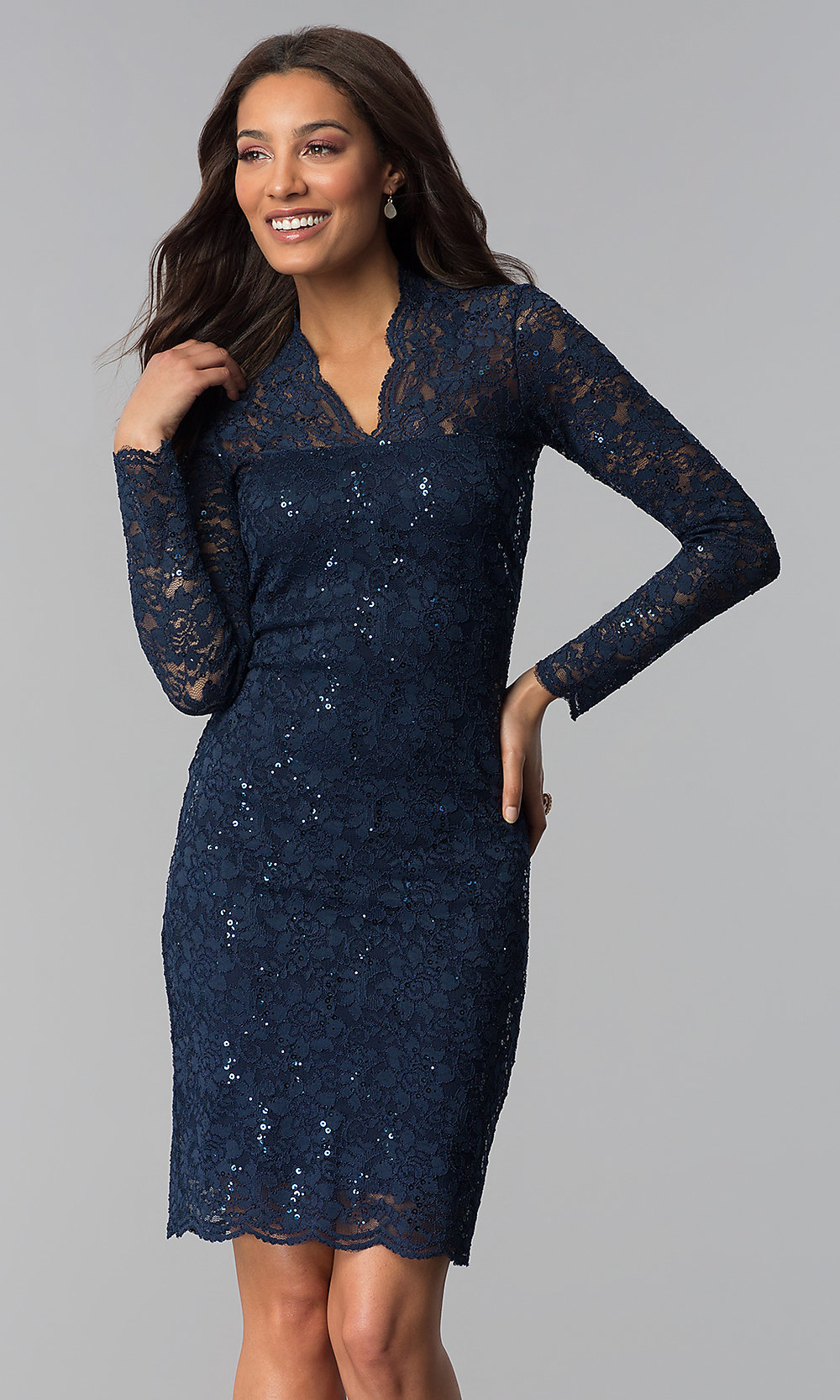 Knee-Length Long-Sleeved Lace Wedding-Guest Dress