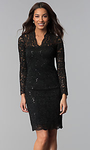 Image of long-sleeve knee-length lace wedding-guest dress.  Style: MCR-2525 Detail Image 3