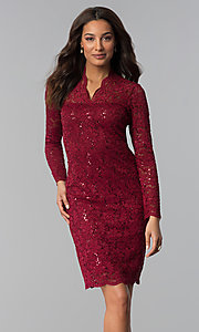 Image of long-sleeve knee-length lace wedding-guest dress.  Style: MCR-2525 Detail Image 1