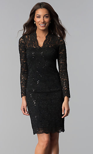 Long-Sleeve Knee-Length Lace Wedding-Guest Dress