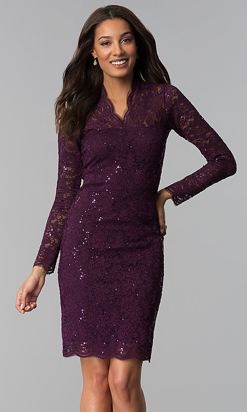 Image of long-sleeve knee-length lace wedding-guest dress.  Style: MCR-2525 Front Image