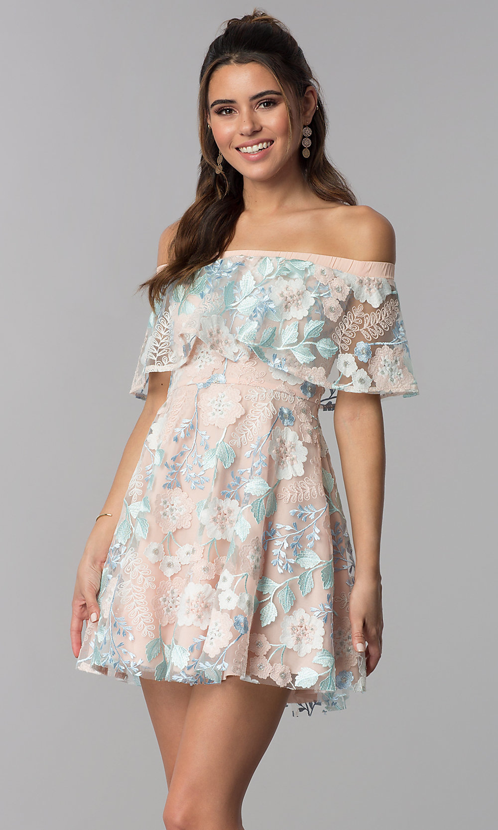 Short Embroidered Wedding Guest Party Dress