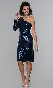 Image of navy blue sequin one-shoulder short cocktail dress. Style: MO-21671 Detail Image 3