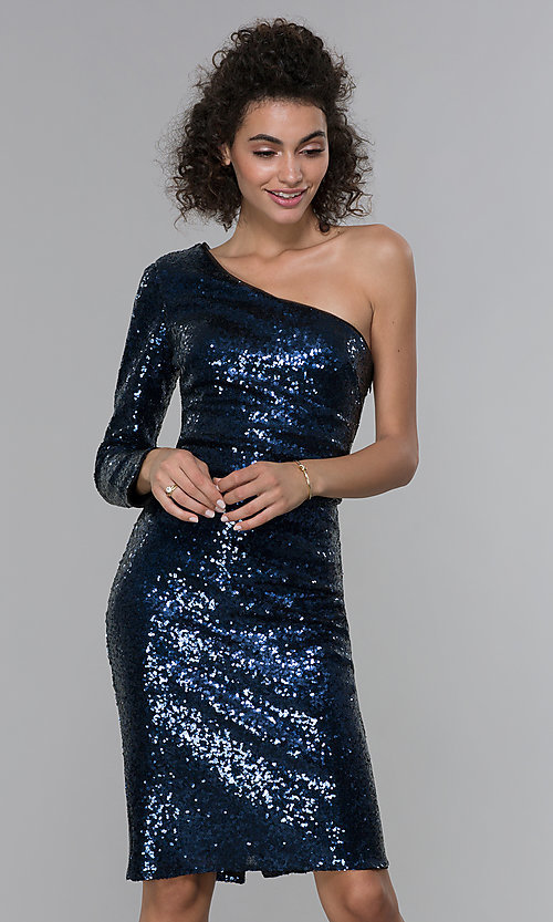 Image of navy blue sequin one-shoulder short cocktail dress. Style: MO-21671 Front Image