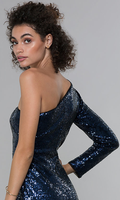 Image of navy blue sequin one-shoulder short cocktail dress. Style: MO-21671 Detail Image 2