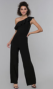 Image of wedding-guest ruffled one-shoulder black jumpsuit. Style: MO-21672 Front Image