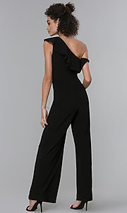 Image of wedding-guest ruffled one-shoulder black jumpsuit. Style: MO-21672 Back Image