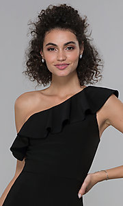 Image of wedding-guest ruffled one-shoulder black jumpsuit. Style: MO-21672 Detail Image 1