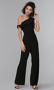 Image of wedding-guest ruffled one-shoulder black jumpsuit. Style: MO-21672 Detail Image 3