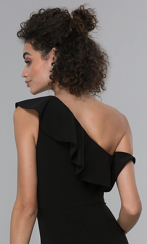 Image of wedding-guest ruffled one-shoulder black jumpsuit. Style: MO-21672 Detail Image 2