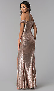 Image of rose gold off-the-shoulder sequin long formal dress. Style: MO-12480 Back Image