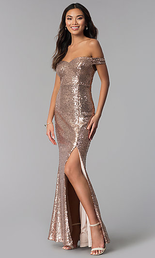 Rose Gold Off-the-Shoulder Sequin Long Formal Dress