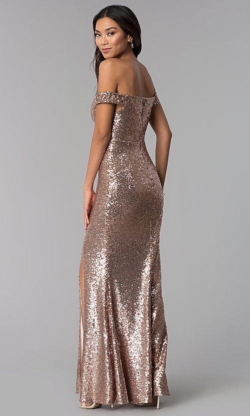 Rose Gold Formal Long Off-the-Shoulder Sequin Dress