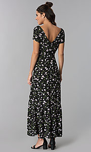 Image of short-sleeve black maxi dress with floral print. Style: BLH-DD1329 Back Image