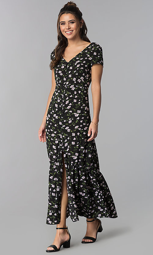 Image of short-sleeve black maxi dress with floral print. Style: BLH-DD1329 Front Image