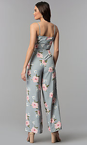 Image of v-neck floral-print jumpsuit with side pockets. Style: BLH-DP1522 Back Image