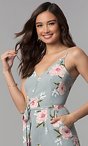 Image of v-neck floral-print jumpsuit with side pockets. Style: BLH-DP1522 Detail Image 1