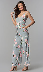 Image of v-neck floral-print jumpsuit with side pockets. Style: BLH-DP1522 Front Image