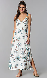 Image of empire-waist floral-print white casual maxi dress. Style: BLH-BD1620 Front Image