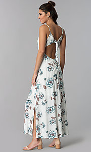 Image of empire-waist floral-print white casual maxi dress. Style: BLH-BD1620 Back Image