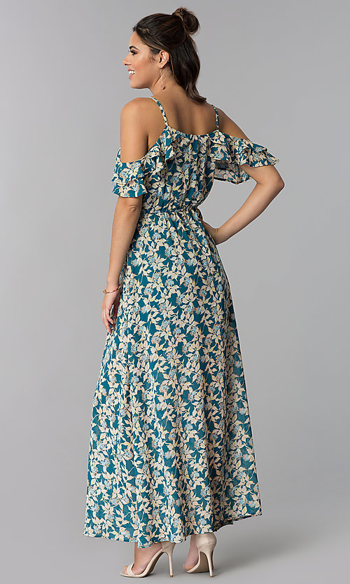 Image of teal blue floral-print cold-shoulder maxi dress. Style: BLH-BD1606 Back Image
