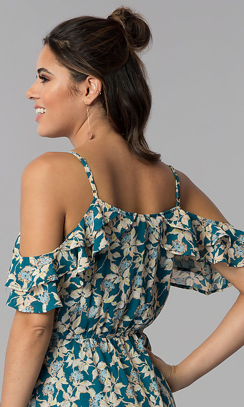 Image of teal blue floral-print cold-shoulder maxi dress. Style: BLH-BD1606 Detail Image 2