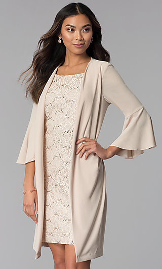 MOB Short Sequin-Lace Dress with Attached Jacket