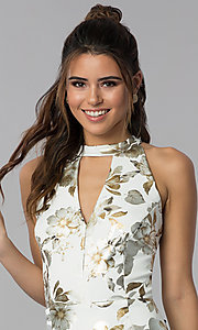 Image of short wedding-guest foil-print dress in ivory white. Style: SD-S286471 Detail Image 1