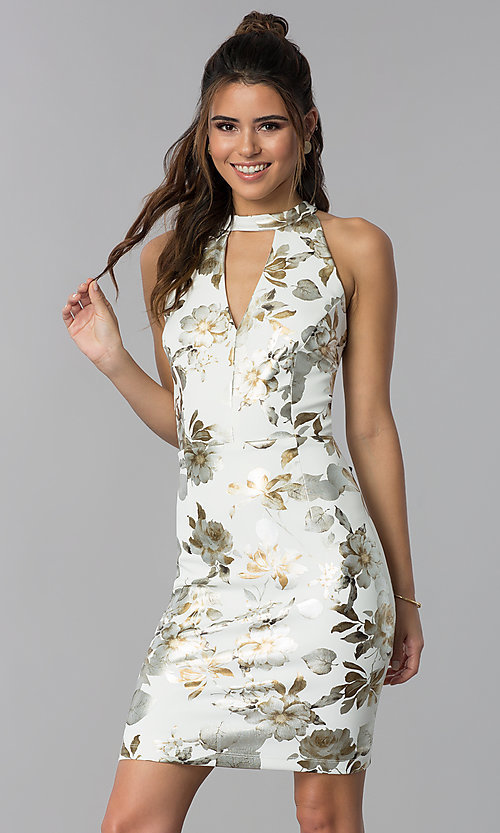 Image of short wedding-guest foil-print dress in ivory white. Style: SD-S286471 Front Image