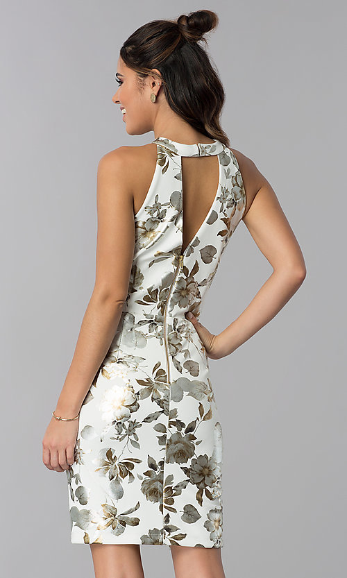 Image of short wedding-guest foil-print dress in ivory white. Style: SD-S286471 Back Image