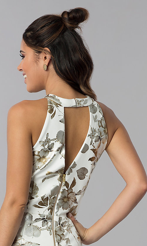 Image of short wedding-guest foil-print dress in ivory white. Style: SD-S286471 Detail Image 2