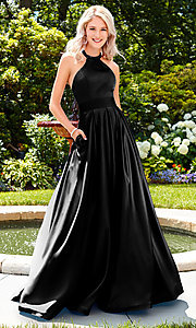 Image of a-line open-back long satin prom dress with pleats. Style: CLA-3489 Detail Image 2