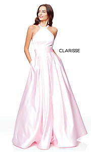 Image of a-line open-back long satin prom dress with pleats. Style: CLA-3489 Detail Image 4