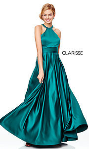 Image of a-line open-back long satin prom dress with pleats. Style: CLA-3489 Detail Image 5