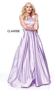 Image of a-line open-back long satin prom dress with pleats. Style: CLA-3489 Detail Image 6