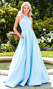 Image of a-line open-back long satin prom dress with pleats. Style: CLA-3489 Front Image