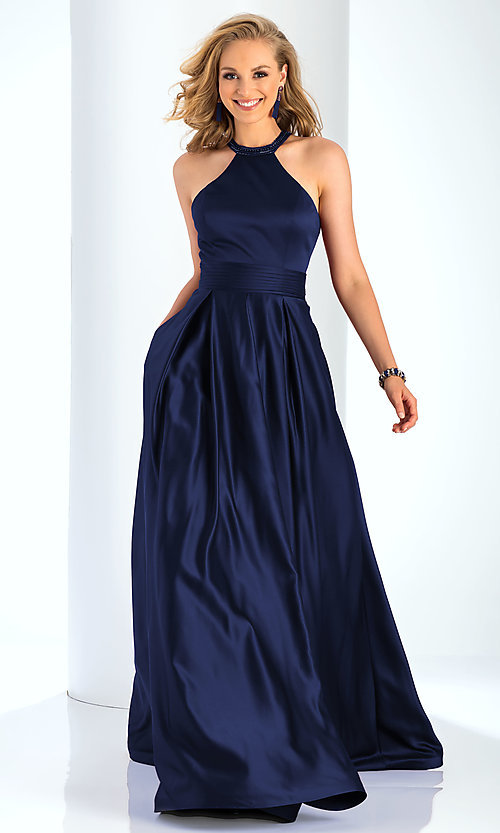 Image of a-line open-back long satin prom dress with pleats. Style: CLA-3489 Detail Image 3