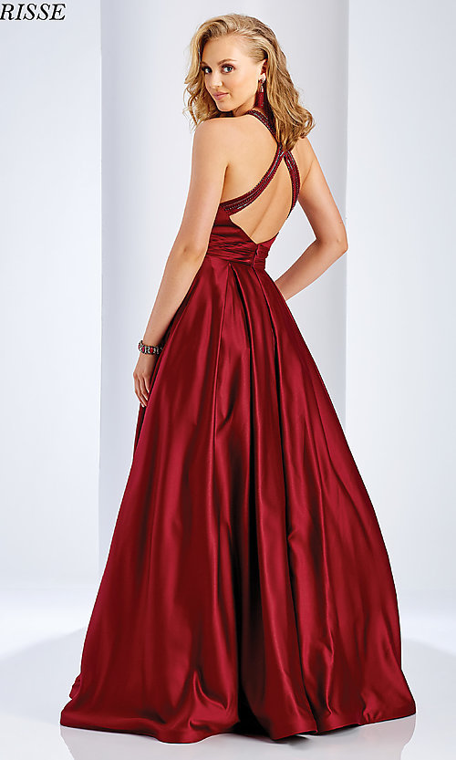 Image of a-line open-back long satin prom dress with pleats. Style: CLA-3489 Back Image