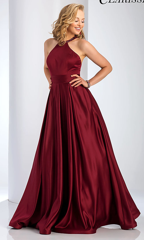 Image of a-line open-back long satin prom dress with pleats. Style: CLA-3489 Detail Image 1