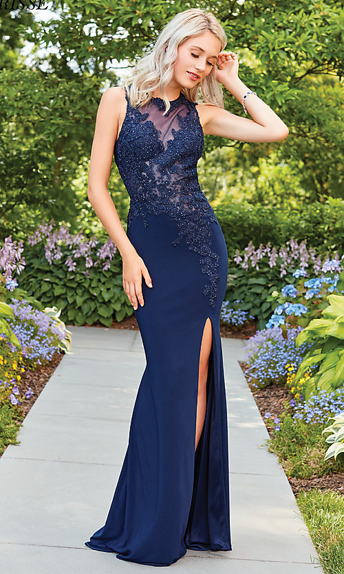 Image of high-neck formal dress with embroidered bodice. Style: CLA-3572 Detail Image 2