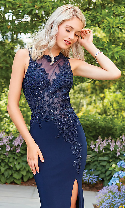 Image of high-neck formal dress with embroidered bodice. Style: CLA-3572 Detail Image 3
