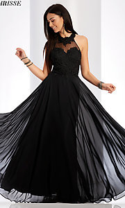 Image of embroidered-bodice long chiffon formal dress. Style: CLA-3528 Detail Image 1