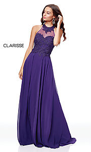 Image of embroidered-bodice long chiffon formal dress. Style: CLA-3528 Detail Image 6