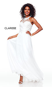 Image of embroidered-bodice long chiffon formal dress. Style: CLA-3528 Detail Image 5