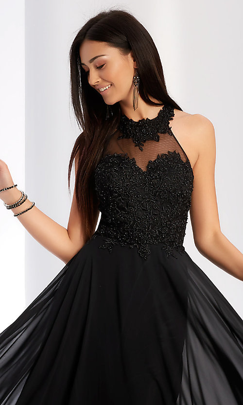 Image of embroidered-bodice long chiffon formal dress. Style: CLA-3528 Detail Image 2