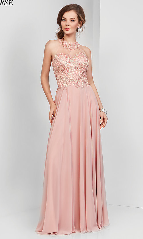 Image of embroidered-bodice long chiffon formal dress. Style: CLA-3528 Front Image